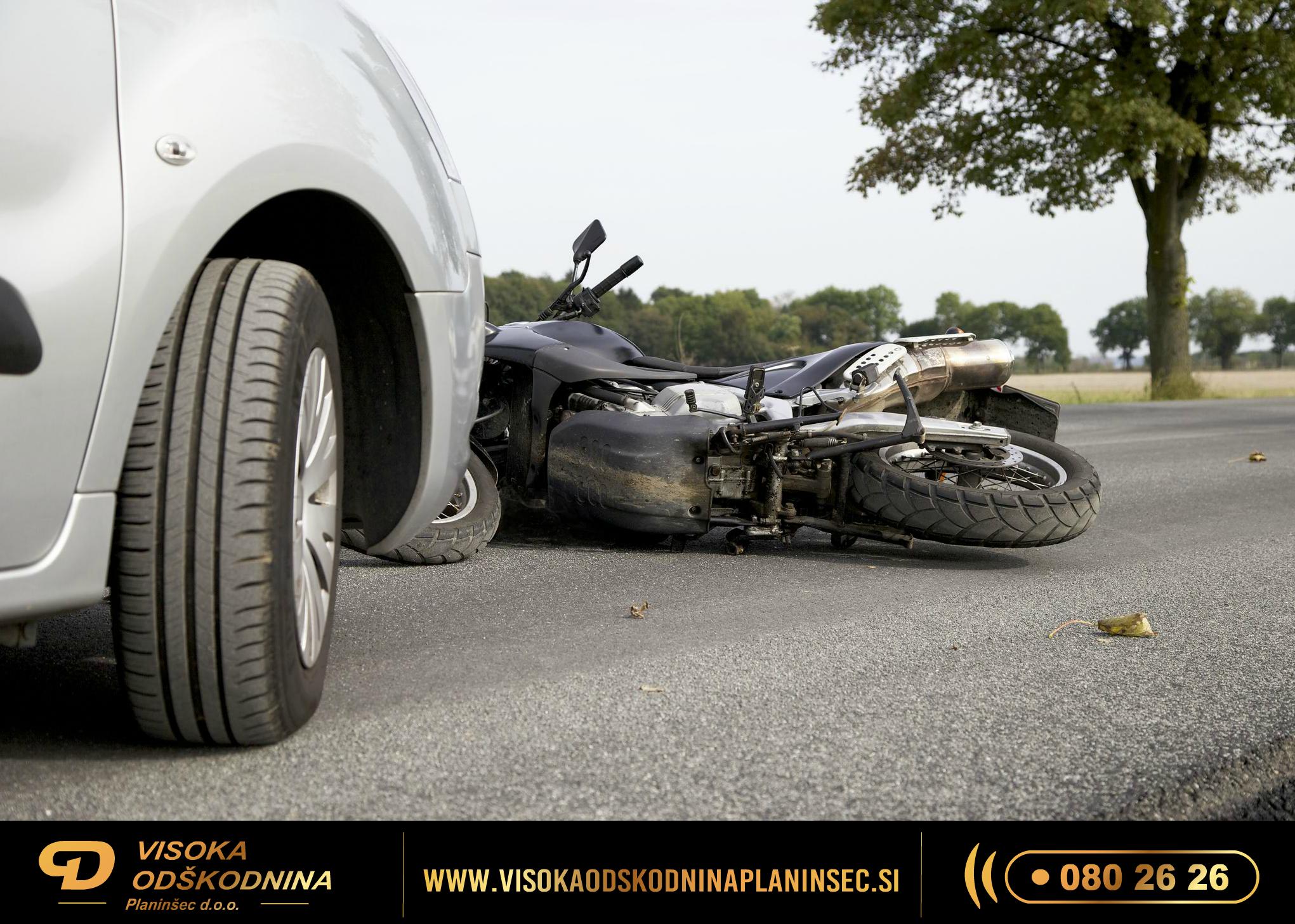 odškodnina za prometno nesrečo z motorjem